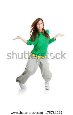Modern dancer, isolated white background - stock photo
