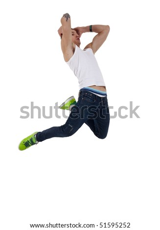 modern dancer poses in front of the white background - stock photo