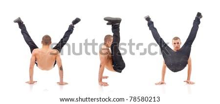 modern dancer showing his skills, studio shot - stock photo