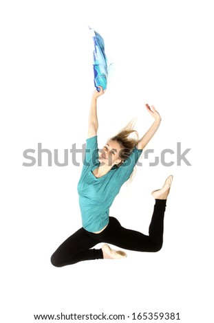 modern dancer woman poses  studio on white background