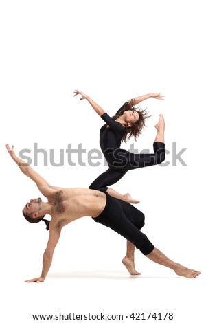 modern dancers poses in front of the white background - stock photo