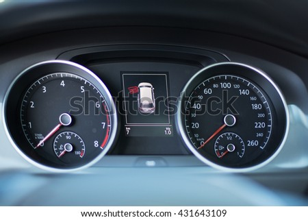 Modern dashboard of a car with a high mileage