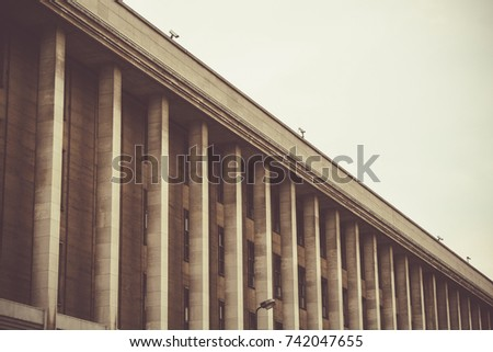 Modern day building with pillars or columns in Brussels Belgium