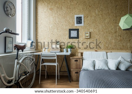 Modern decorations in room and wooden wall - stock photo