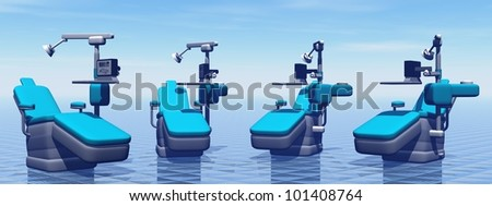 Modern dental chairs in blue background