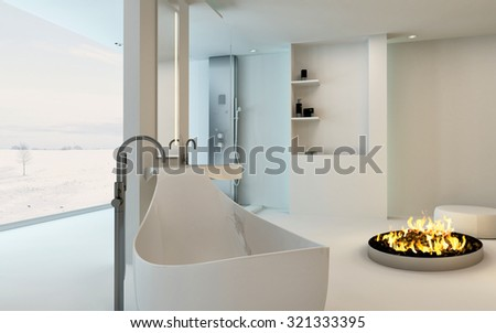 Modern Design Bathroom interior with unusual shaped bathtub, shower, a cozy warm fireplace and floor-to-ceiling window with a winter landscape view. 3d Rendering. - stock photo
