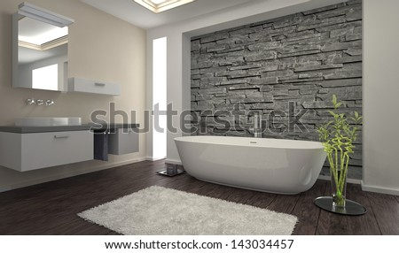 Modern Design Bathroom Stone Wall Bathtub Stock Photo (Royalty Free ...