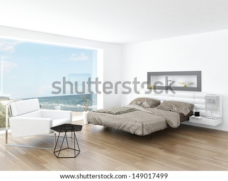 Modern Design Bedroom Interior with Seascape View - stock photo