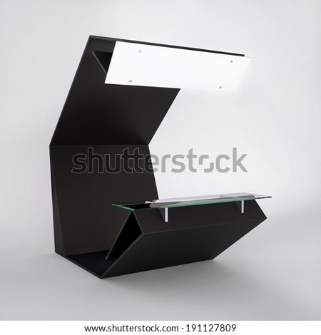 modern design business kiosk with blank frieze and counter - stock photo