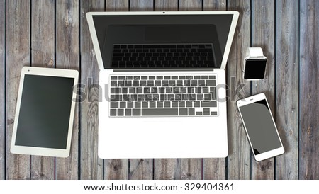 Modern design concept of creative workplace of a designer for use in presentations, education manuals, design, etc. - stock photo