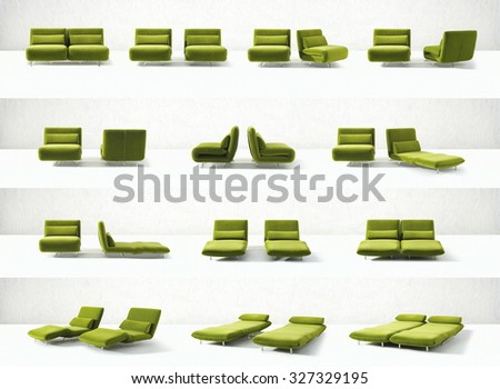 modern design convertible green chair in it's multiple transitions from chair to double couch and bed - stock photo