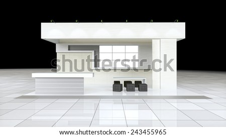 modern design exhibition stand with blank white frieze and reception counter - stock photo