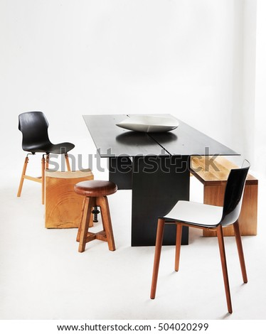 modern design furniture on a beautiful composition on a studio photo