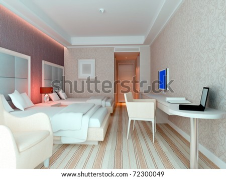 modern design interior of bedroom, hotel rooms. 3D render