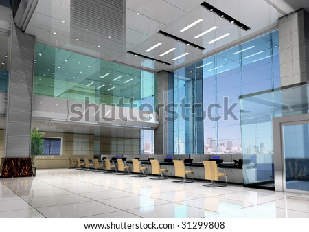 modern design interior of business hall. 3D render