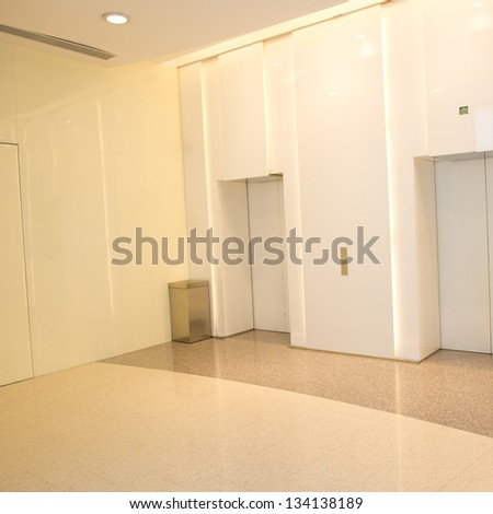Modern design interior of elevator lobby. - stock photo
