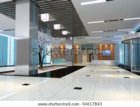modern design interior of hall,corridor. 3D render - stock photo