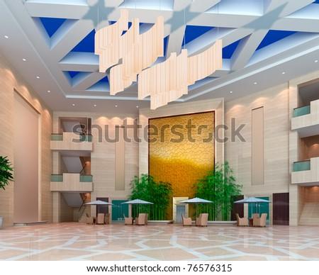 modern design interior of hall,corridor. 3D render - stock photo