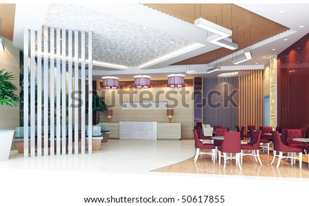 modern design interior of hall, reception room. 3D render