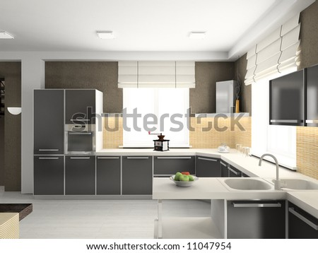 Modern design interior of kitchen. 3D render