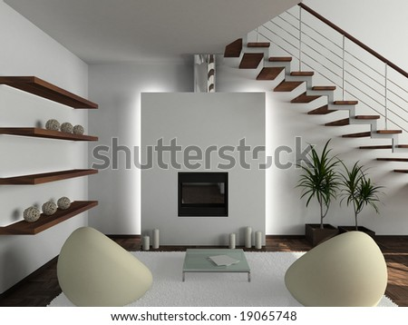 Modern design interior of living-room. 3D render - stock photo
