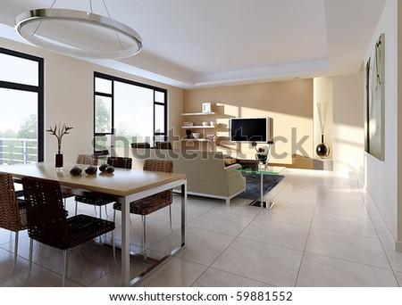 Modern design interior of living-room.  render - stock photo