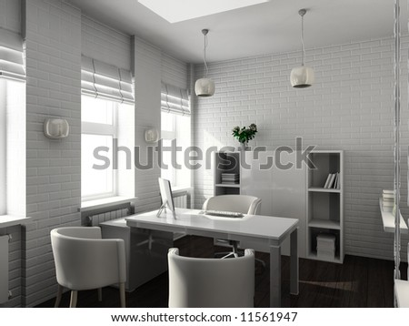 Modern design interior of office. 3D render