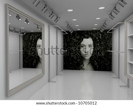 Modern design interior of shop. 3D render - stock photo