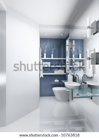 Modern design interior of toilet. 3D render