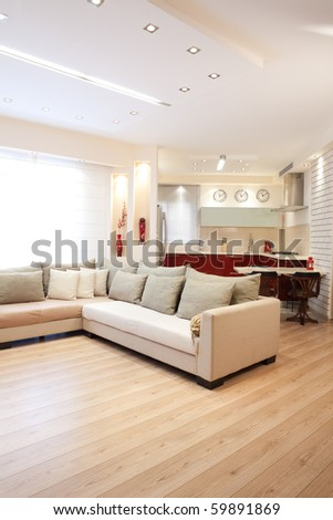 Modern design living room and kitchen white red and wood elements - stock photo