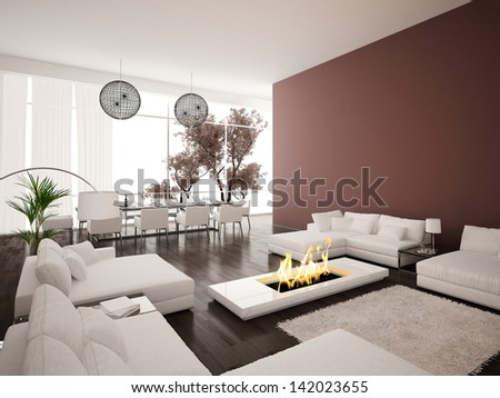 Modern Design living room interior with fireplace - stock photo