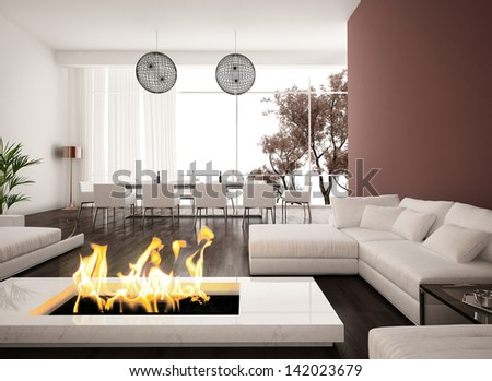 Modern Design living room interior with fireplace Fireplace Stock Images  Royalty Free Vectors