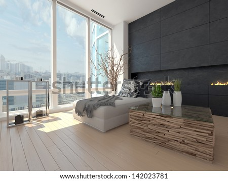 Modern Design living room with cityscape view - stock photo
