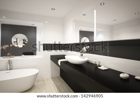 Modern design luxury bathroom interior - stock photo