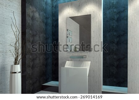 Modern design luxury bathroom interior. 3d Rendering. - stock photo