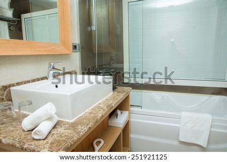 modern design of bathroom - stock photo