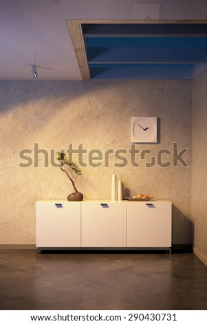 modern design of lounge room. 3D rendering - stock photo