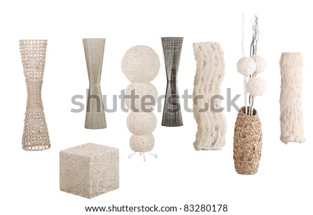 Modern design of rattan, bamboo and water hyacinth  floor lamps - stock photo