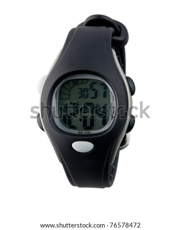 Modern design of the digital panel wristwatch an image isolated on white - stock photo