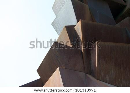 MODERN DESIGN STEEL SCULPTURE - stock photo