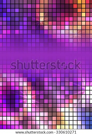 Modern Design style on blur purple background with digital square effect. Blurry gradient glow light. illustration 10 for wellness theme booklet template, flyer party dance club - stock photo