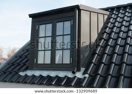 Modern design vertical roof water proof window with black tiles - stock photo