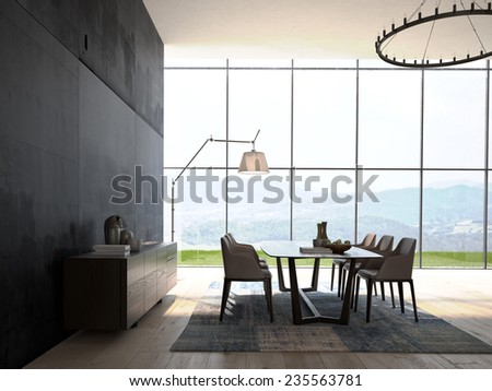 Modern Design White Dining Room  Interior Architecture. 3d rendering - stock photo