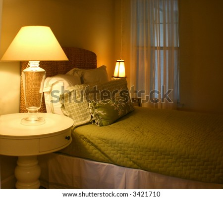 modern designed bedroom - stock photo