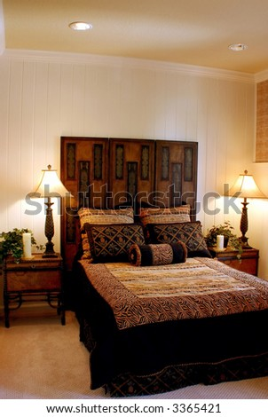 modern designed bedroom using animal prints - stock photo