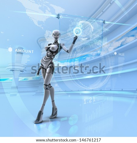 Modern designed interior. Futuristic female android managing virtual interface in digital space