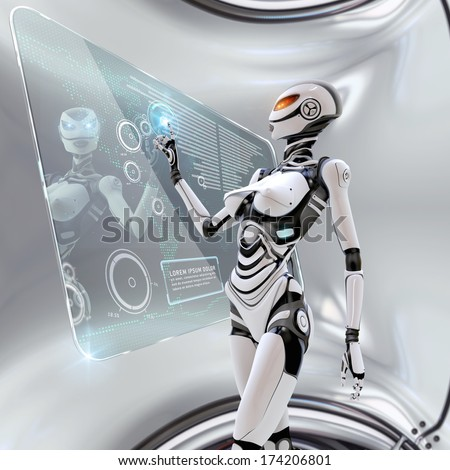 Modern designed robotic interior. Futuristic female android managing virtual interface in digital space - stock photo