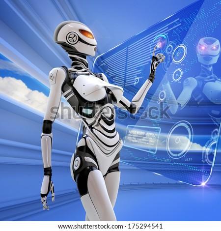 Modern designed robotic SCI-FI. Futuristic female android managing virtual interface in digital space - stock photo