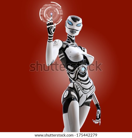 Modern designed robotic SCI-FI scene. Futuristic female android managing virtual interface in digital space on red background.  - stock photo