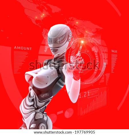 Modern designed robotic SCI-FI scene. Futuristic female android managing virtual interface in digital space  - stock photo